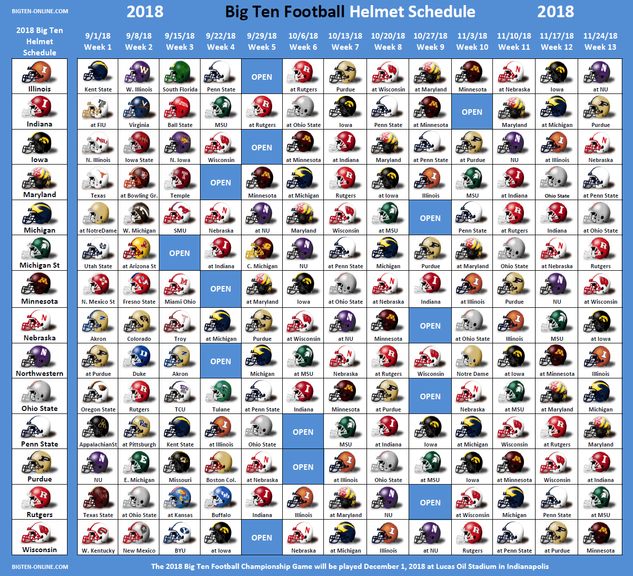 2018 Big Ten Football Helmet Schedule