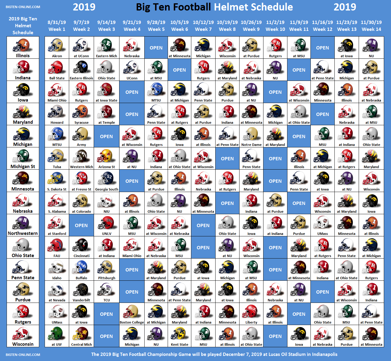 2019 Big Ten Football Helmet Schedule
