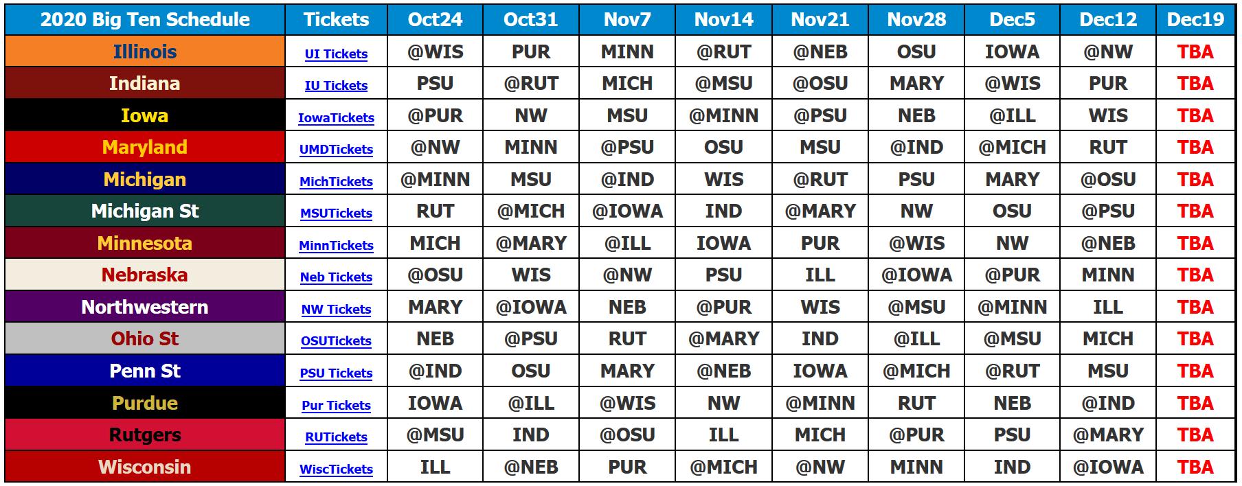 2020 Big Ten Football Schedule Grid Covid-19