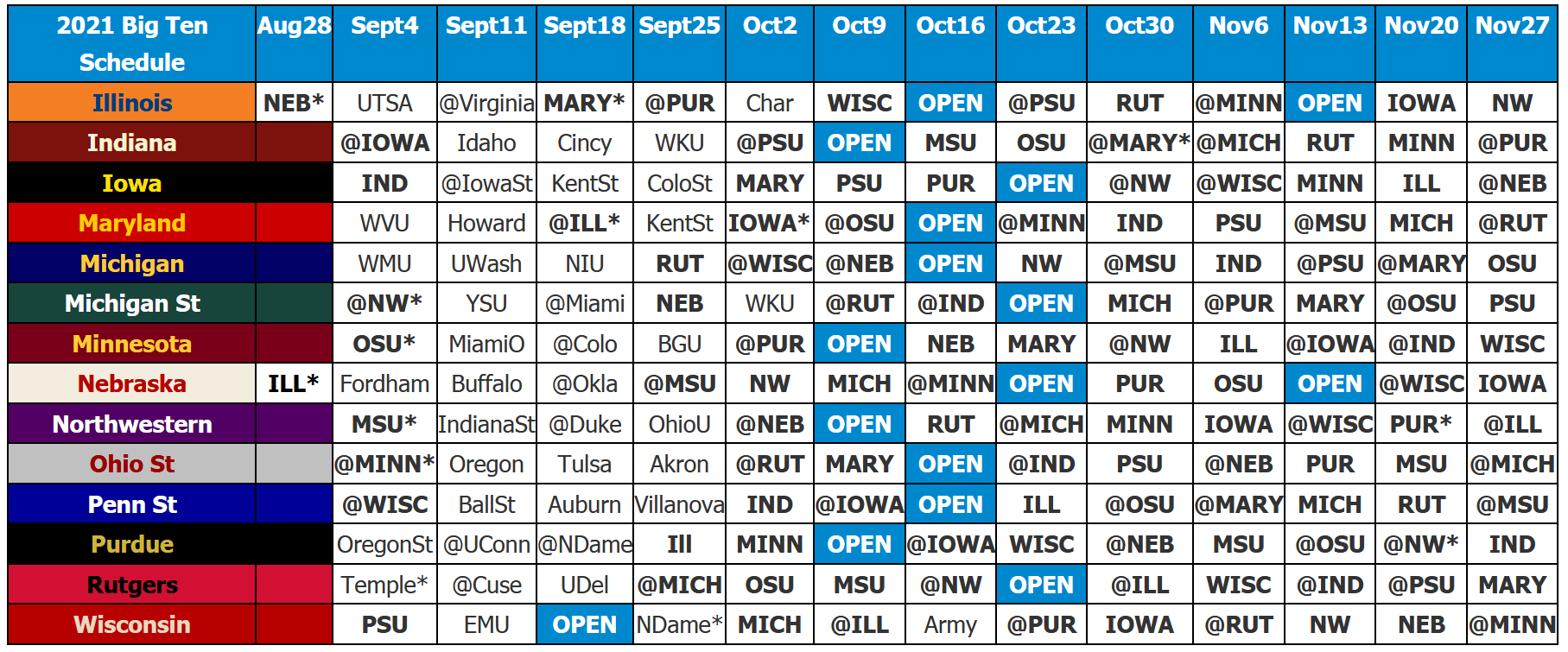 2021 Big Ten Football Schedule